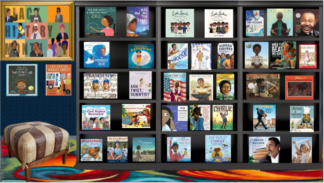 Image of our virtual library showing the covers of books